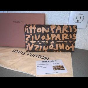 Auth Louis Vuitton Sprouse graffiti Sarah wallet